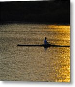Rowing At Sunset Metal Print by Bill Cannon