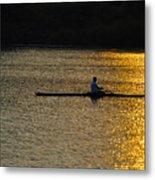 Rowing At Sunset Metal Print