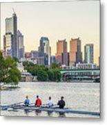 Rowing The Schuylkill - Philadelphia Cityscape Metal Print