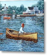 Rowing To Rockport Metal Print