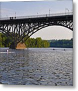 Rowing Under The Strawberry Mansion Bridge Metal Print by Bill Cannon