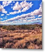 Rows Of Clouds Over Sonoran Desert Metal Print