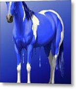 Royal Blue Wet Paint Horse Metal Print
