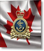 Royal Canadian Navy  -  R C N  Badge Over Canadian Flag Metal Print
