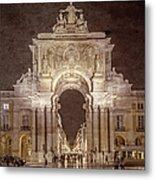 Rua Agusta Arch Lisbon Textured Metal Print