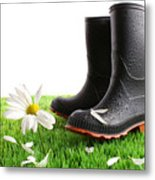 Rubber Boots With Daisy In Grass Metal Print