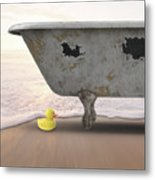 Rubber Ducky Bathtub Beach Surreal Metal Print