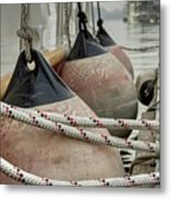 Rubber Fenders On The Side Of The Motor Yacht Metal Print