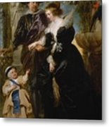 Rubens His Wife Helena Fourment 16141673 And Their Son Frans 16331678 Metal Print