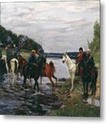 Rubicon. Crossing The River By Denis Davydov Squadron. 1812. Metal Print