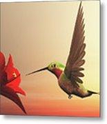 Ruby-throated Hummingbird - 3d Render Metal Print