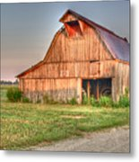 Ruddish Barn At Dawn Metal Print
