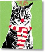 Rudolph The Red Nosed Cat- Art By Linda Woods Metal Print