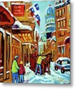 Rue St Paul Montreal Streetscene Cafes And Caleche Metal Print