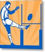 Rugby Goal Kick Metal Print