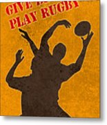 Rugby Player Jumping Catching Ball In Lineout Metal Print