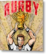 Rugby Player Raising Championship World Cup Trophy Metal Print