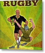 Rugby Player Running Attacking With Ball Metal Print