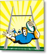Rugby Player Scoring Try Retro Metal Print