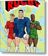 Rugby Player Standing With Ball Metal Print by Aloysius Patrimonio