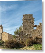 Ruined Building And Restored Church At Occi In Corsica Metal Print