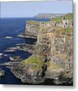 Ruins Of Dunluce Castle On The Sea Cliffs Of Northern Ireland Metal Print
