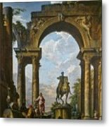 Ruins With The Statue Of Marcus Aurelius Giovanni Paolo Panini Metal Print