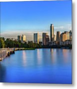 Runners, Joggers And Bikers Take An Early Morning Stroll On The The Boardwalk Trail Metal Print