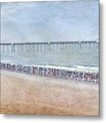 Runners On The Beach Panorama Metal Print