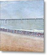 Runners On The Beach Panorama Metal Print