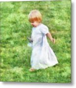 Running Barefoot In The Grass Metal Print