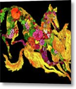 Running Dogs Black Metal Print