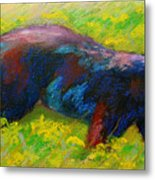 Running Free - Black Bear Cub Metal Print