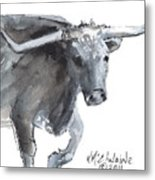 Running Texas Longhorn Watercolor Painting By Kmcelwaine Metal Print