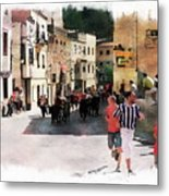 Running Of The Bulls Metal Print