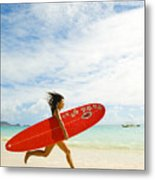 Running With Surfboard Metal Print