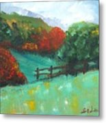Rural Autumn Landscape Metal Print