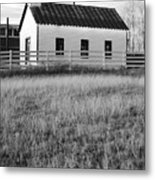 Rural Church Black And White Metal Print