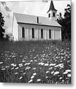 Rural Church In Field Of Daisies Metal Print