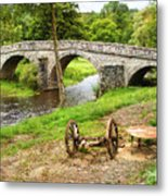 Rural France With Old Stone Arched Bridge Metal Print