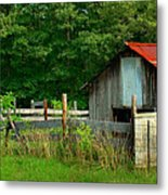 Rural Serenity - Red Roof Barn Rustic Country Rural Metal Print