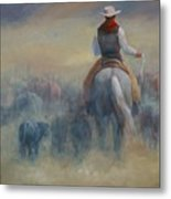 Rush Hour Traffic   Western Art Cowboy Painting Metal Print