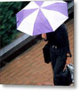 Rushing Back - Umbrellas Series 1 Metal Print