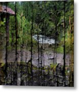 Rushing Cascade In The Andes - On Bark Metal Print