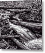 Rushing Stream - Bw Metal Print