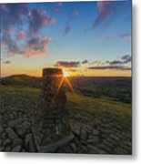 Rushup Edge From Mam Tor Summit Sunset Metal Print