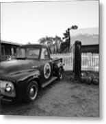 Russel Farms 1951 Ford F100 Black And White Metal Print