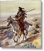 Russell Charles Marion Indian With Spear Metal Print