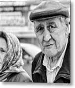 Russian Pensioners Looking At Camera Metal Print