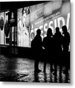 Russian Teens At Night Outside A Shopping Center Metal Print